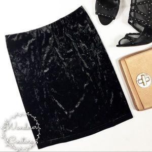 Topshop Black Crushed Velvet Mini Skirt